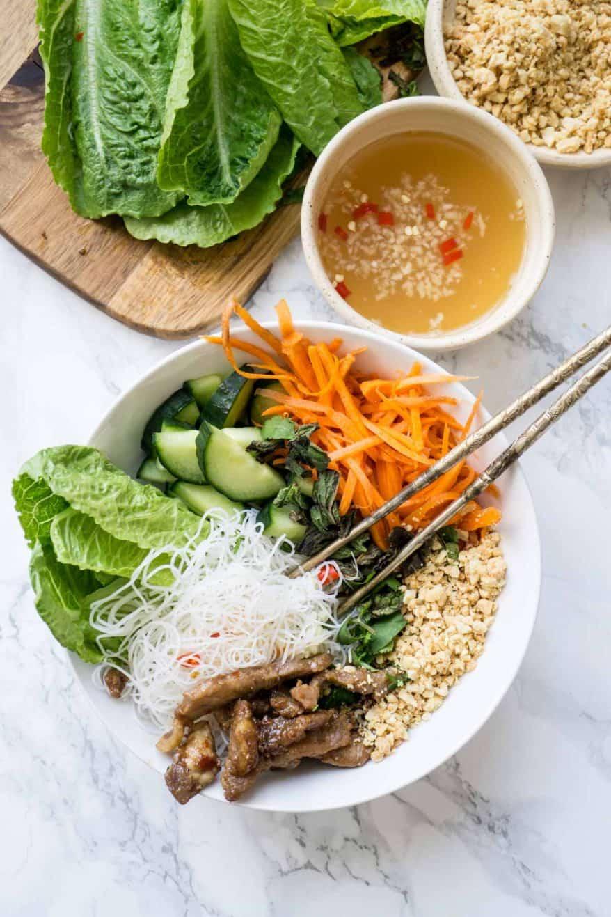 Bun Thit Nuong - Vietnamese Vermicelli with Pork