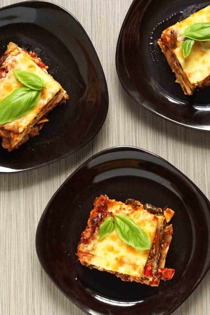 fall harvest roasted veggie lasagna