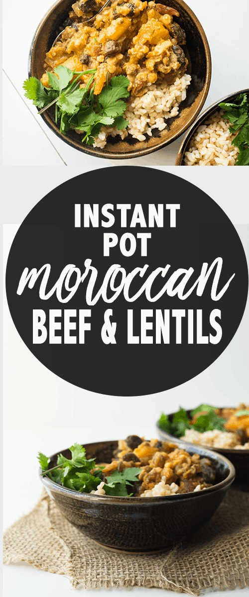 Different angles of bowls with Moroccan Beef Stew with parsley garnish and rice
