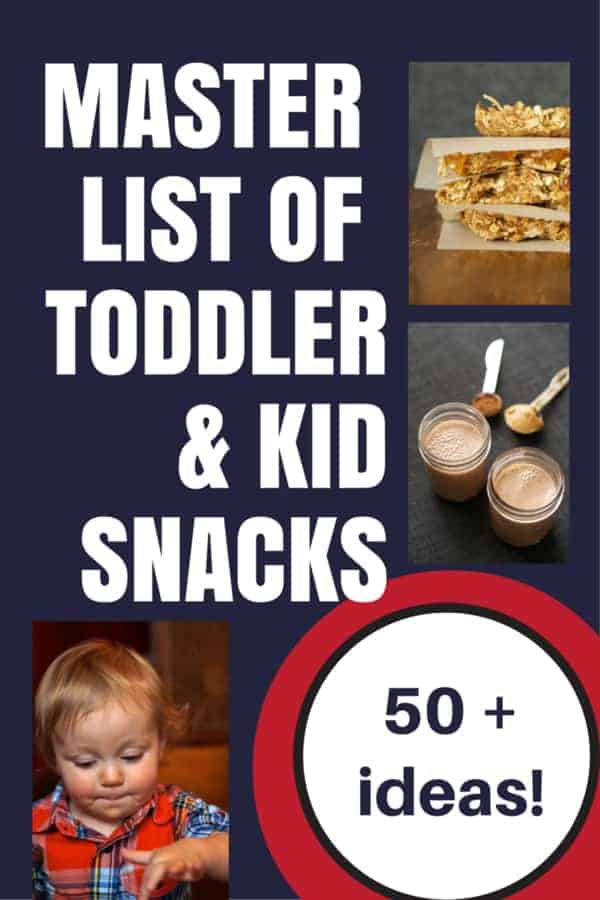 Master list of over 50 toddler and kid snacks