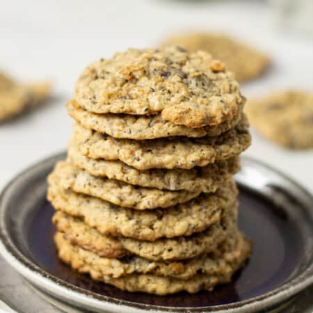 stack of trail mix cookies on a plate