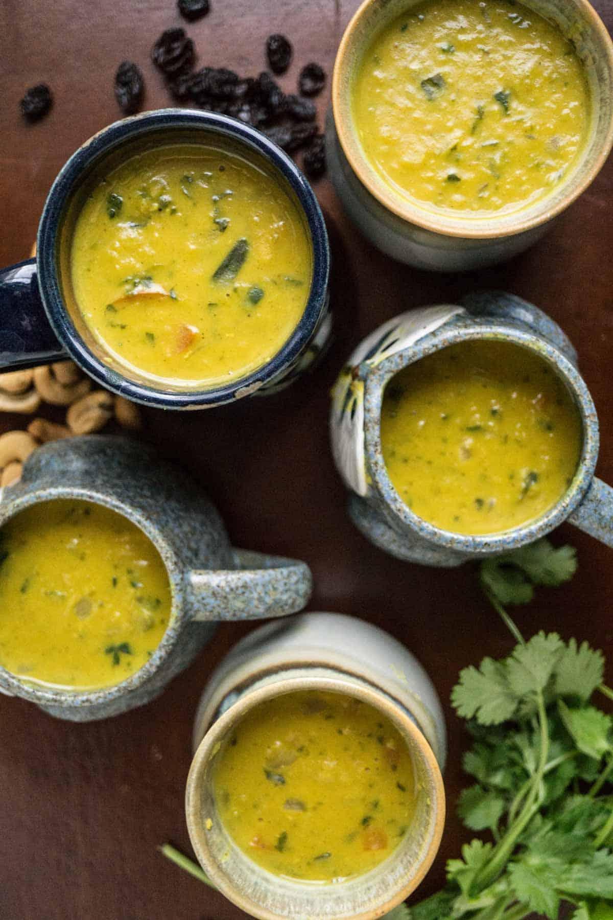 Cashew Raisin Curried Lentil Soup