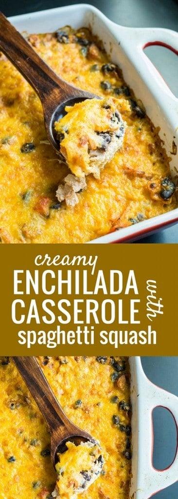 Creamy Enchilada Casserole with Spaghetti Squash