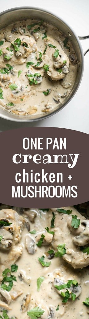 One Pan Creamy Chicken and Mushrooms