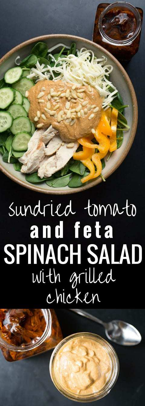 Sundried Tomato and Feta Spinach Salad with Grilled Chicken