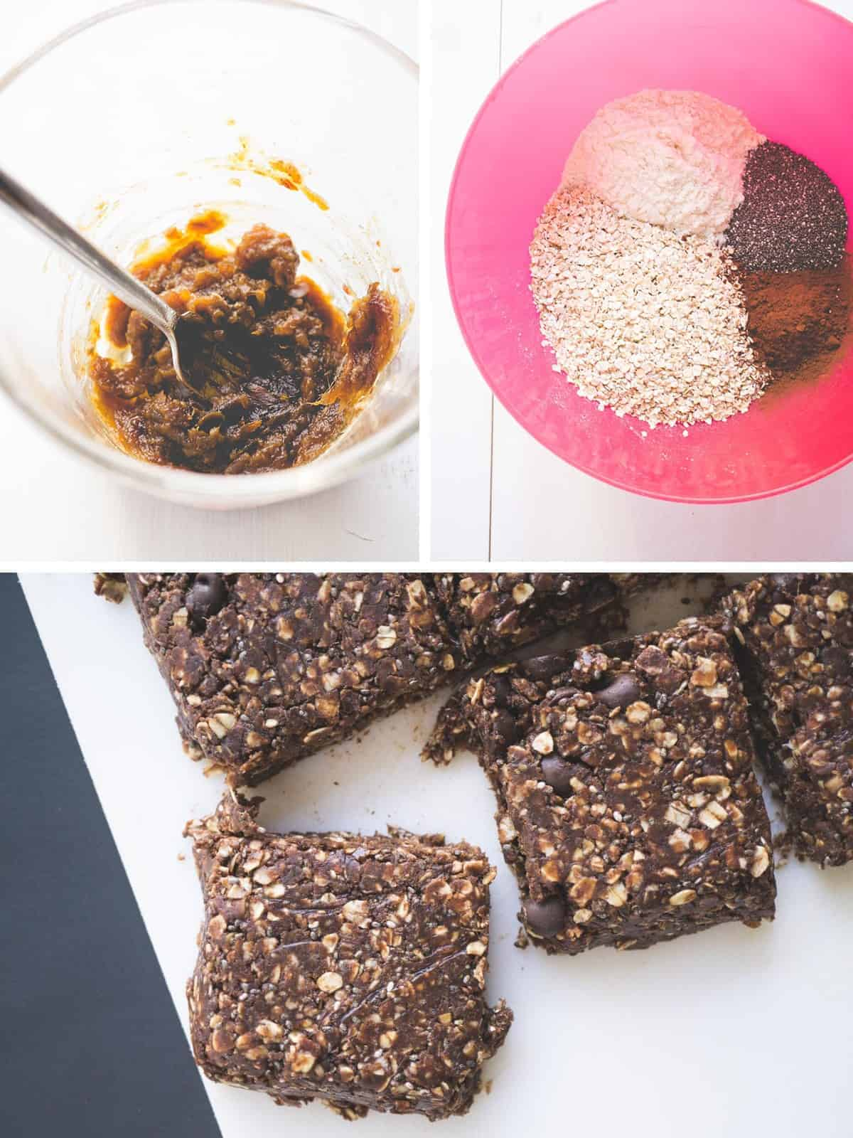 Chocolate PB Protein Bar Collage