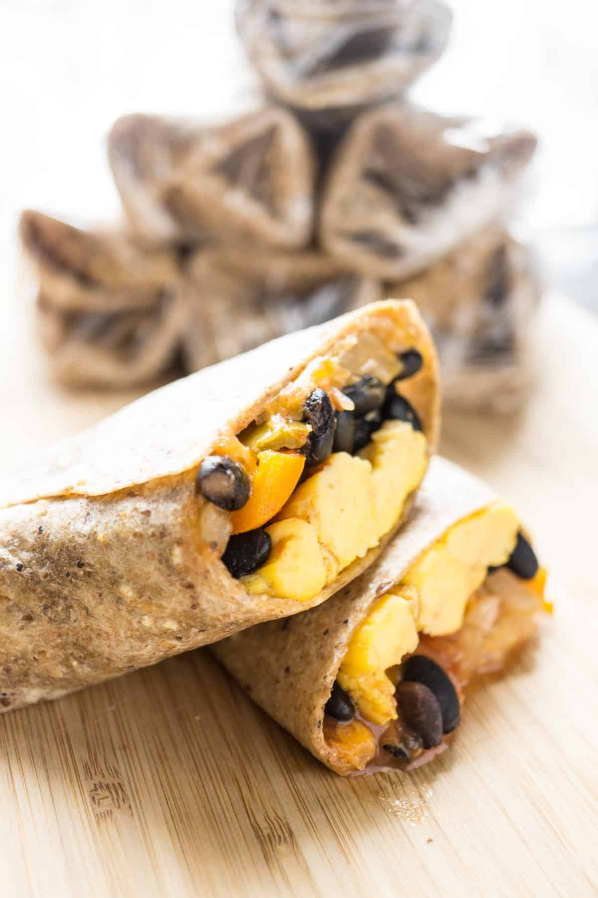 black bean salsa egg burritos