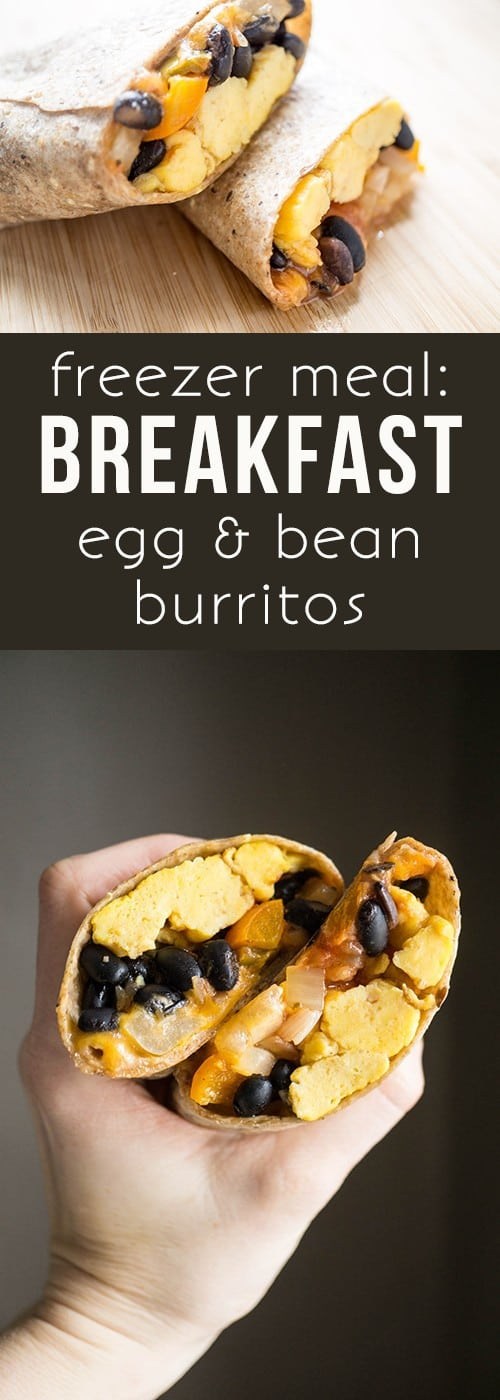 breakfast egg and bean burritos