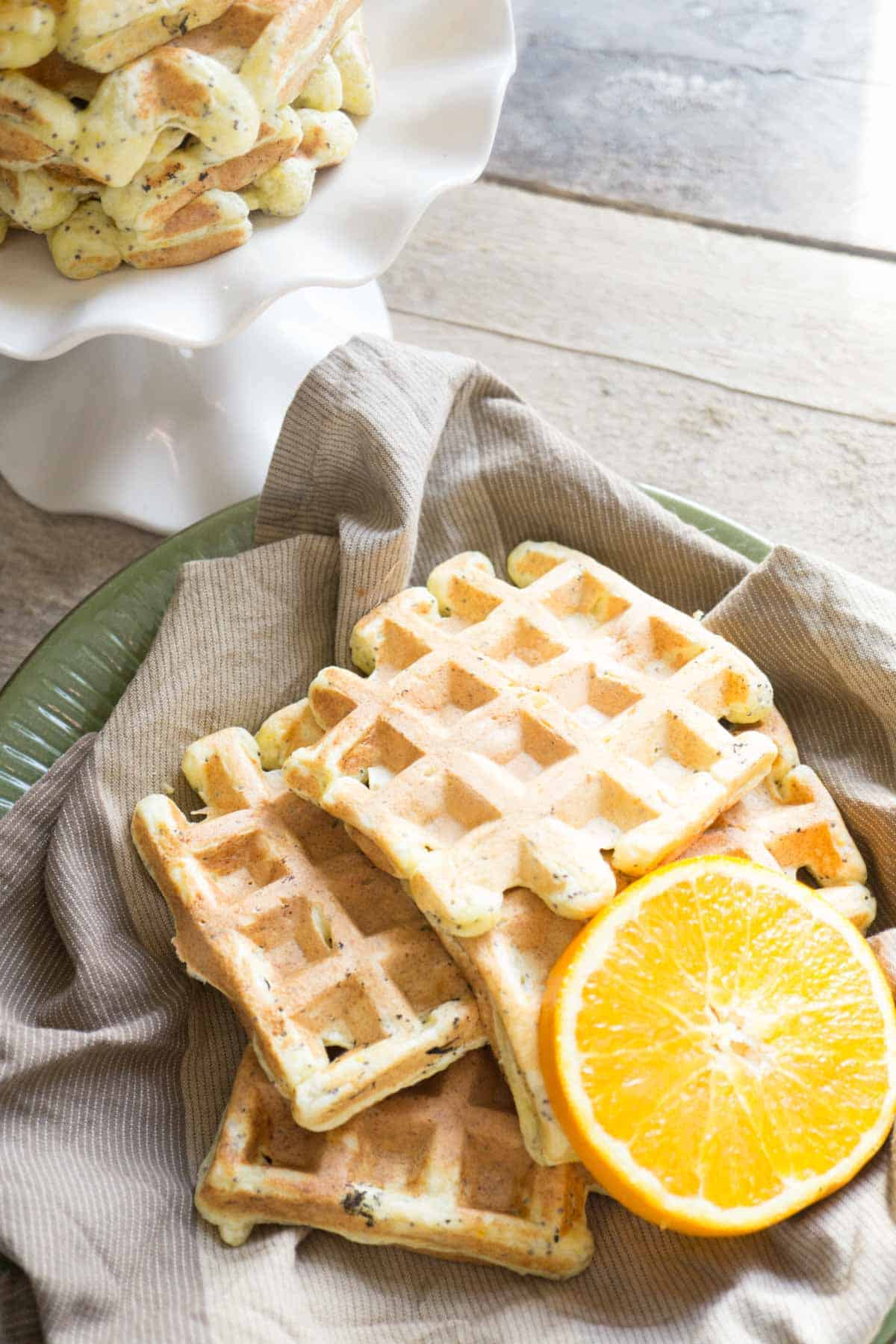 orange poppyseed protein waffles