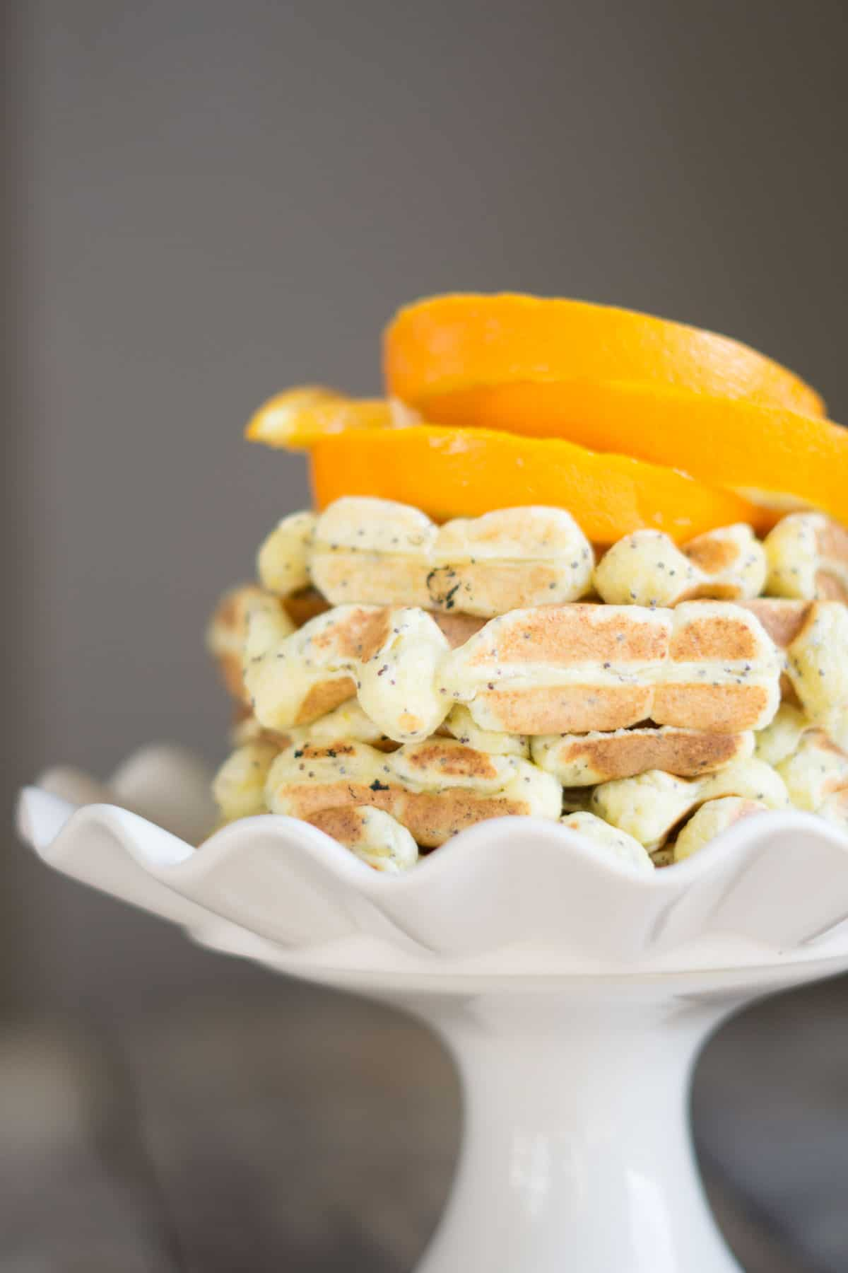 orange poppyseed protein waffles