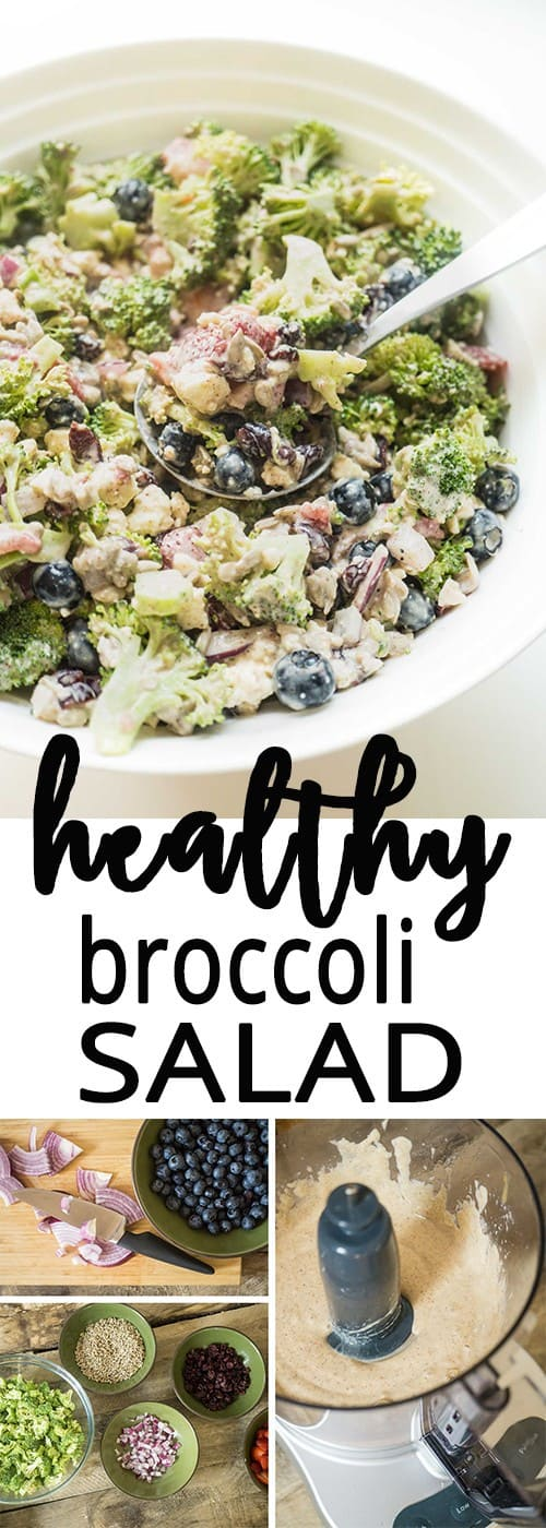 healthy broccoli salad with a creamy almond dressing