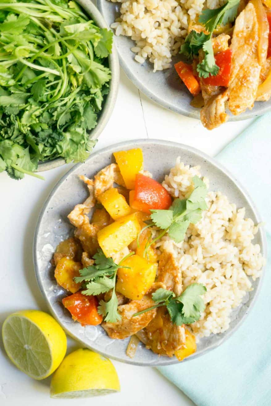 spicy pork with mango and rice