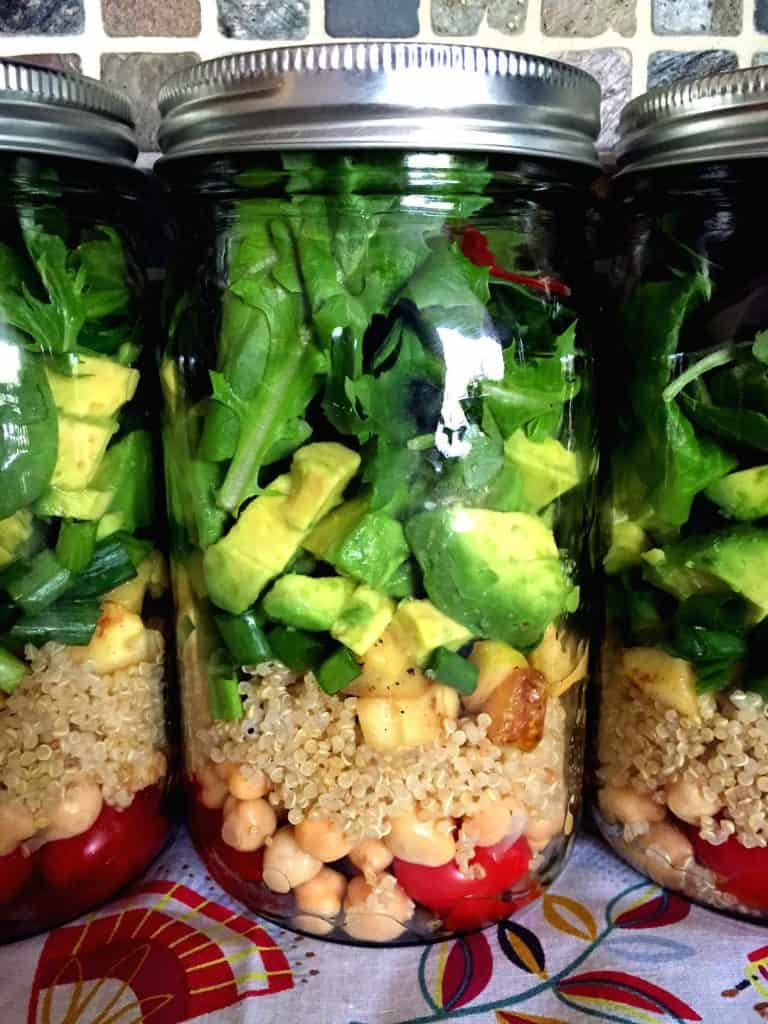 quinoa chickpea salad in a jar