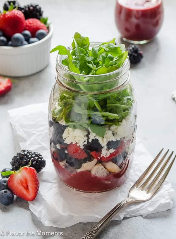 mixed berry salad in a jar