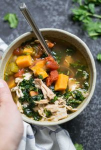 Kale soup with sweet potato and chicken