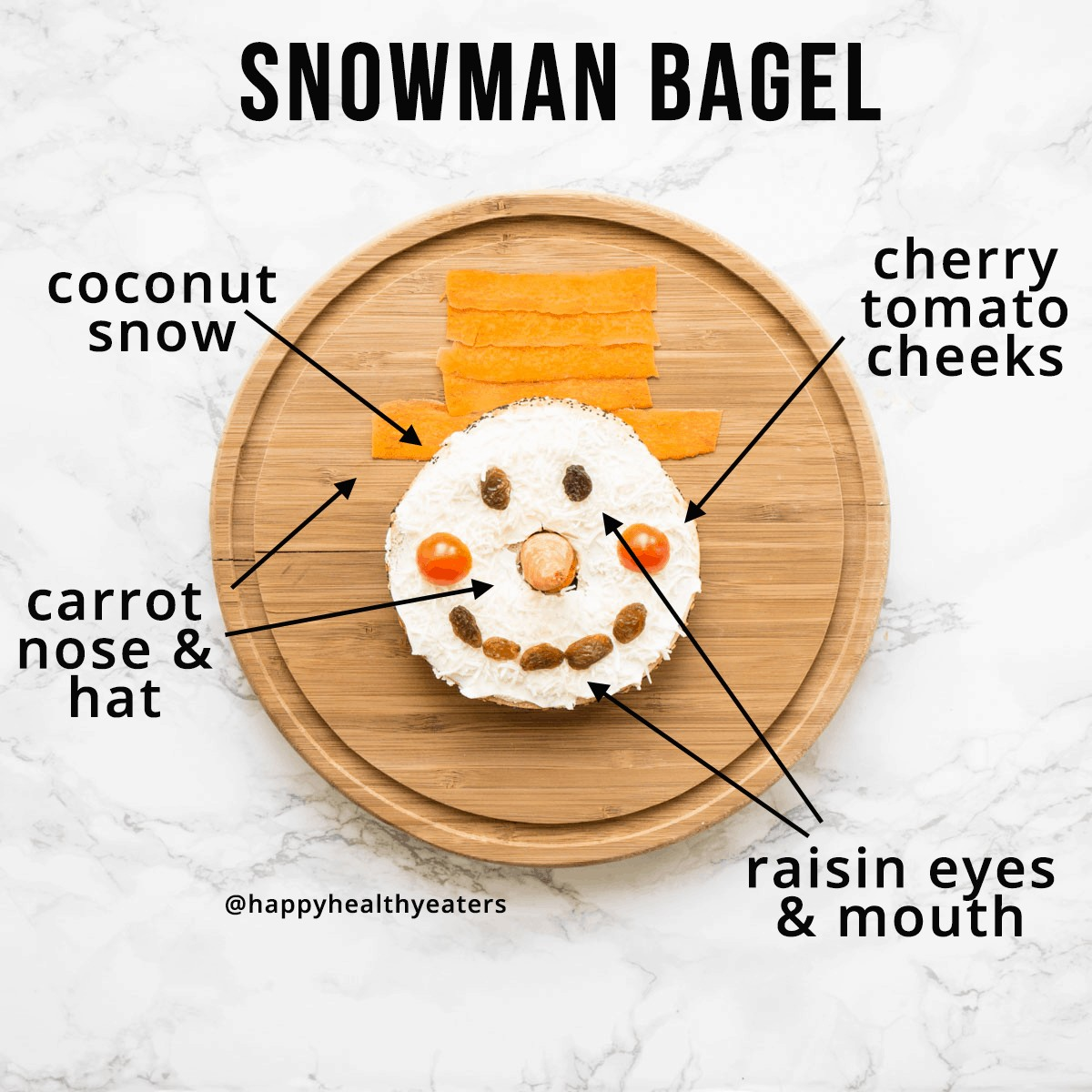 Christmas Snacks: healthy and easy! Snowman Bagel