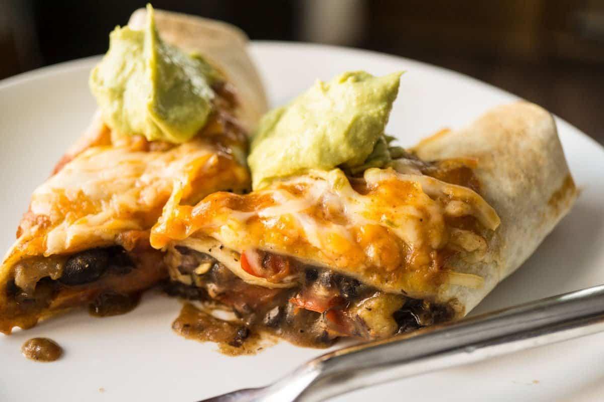 Black Bean Enchiladas with Avocado Cream Sauce