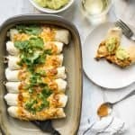 Black Bean Enchiladas with Avocado Cream Sauce