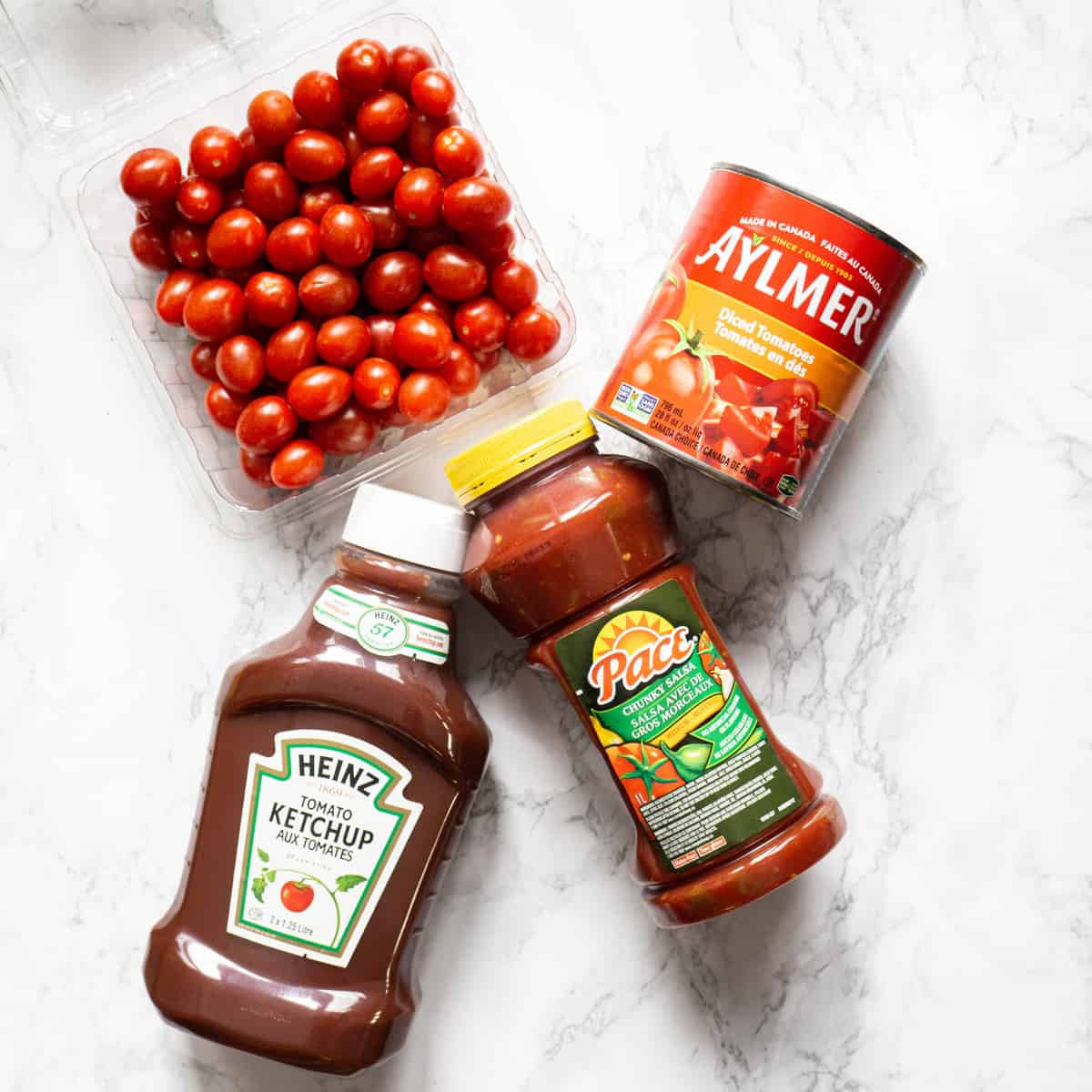 Cherry tomatoes, canned tomatoes, salsa, and ketchup