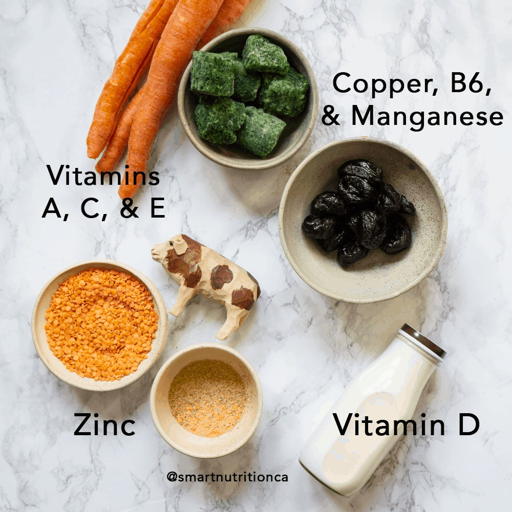 nutrients to support the immune system and foods that contain them