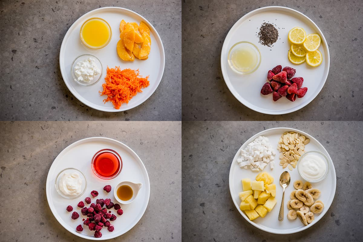 smoothie ingredient collage. Photography by Gabrielle Touchette