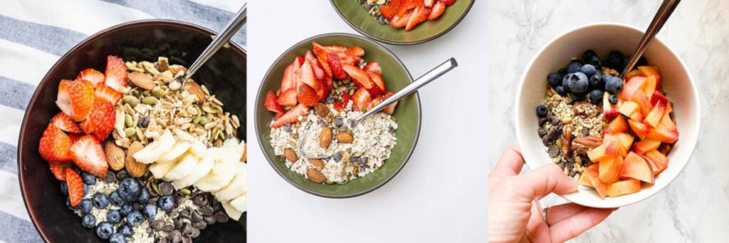 3 different examples of how to eat muesli with different fruit and nuts/seed combinations