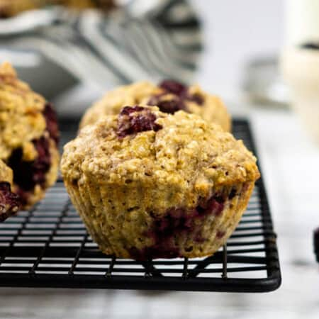 closeup photo of a blackberry oatmeal muffin