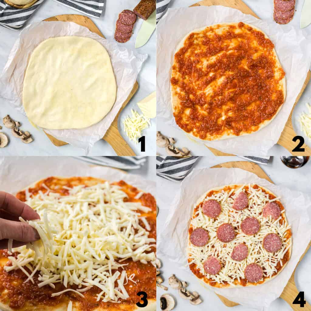 A collage of four images showing my preferred order of dressing a pizza. 1. sauce 2. cheese. 3. toppings